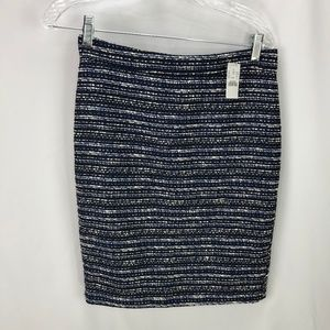 J Crew Women's Blue Black Cotton Blend Skirt 0 NWT